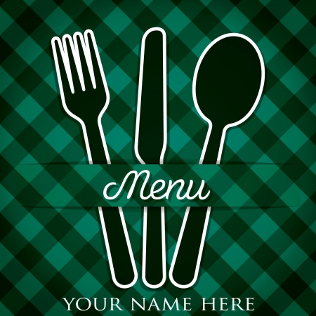 Cutlery theme paper cut out menu in vector format  Illustration