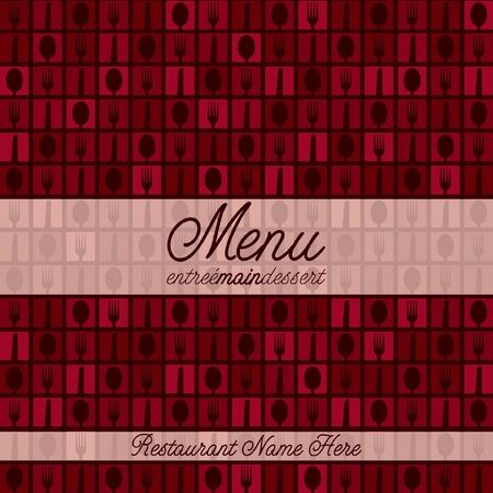 main dishes: Cuchillo, Tenedor y Cuchara men? mosaico moderno con un toque retro en formato vectorial
