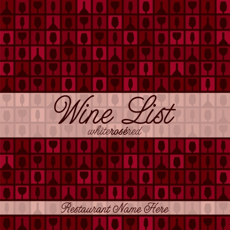 blanc: Wine glass and bottle modern mosaic menu with a retro touch in vector format  Illustration