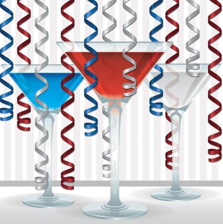 bachelore party: Coctel brillante y una tarjeta de la cinta en formato vectorial