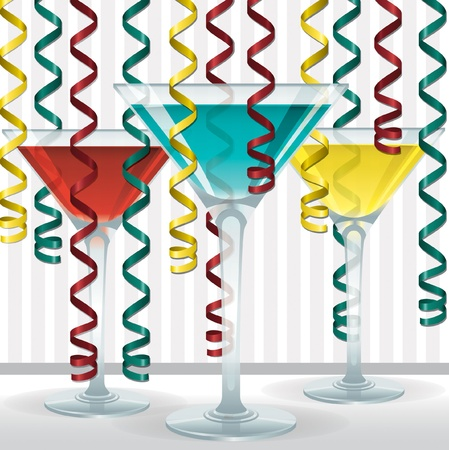 Bright cocktail and ribbon card in vector format  Vector