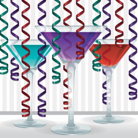 margherita: Bright cocktail and ribbon card in vector format  Illustration