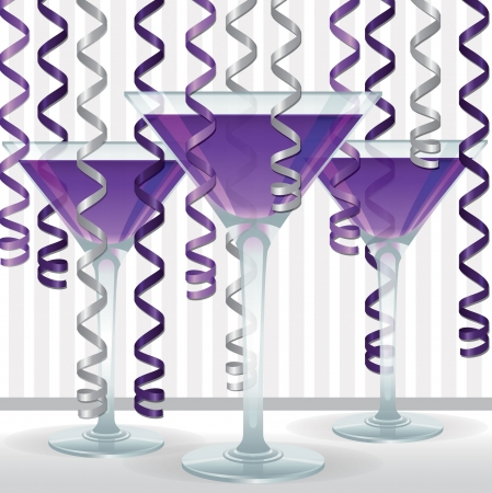 Bright cocktail and ribbon card in vector format  Illustration