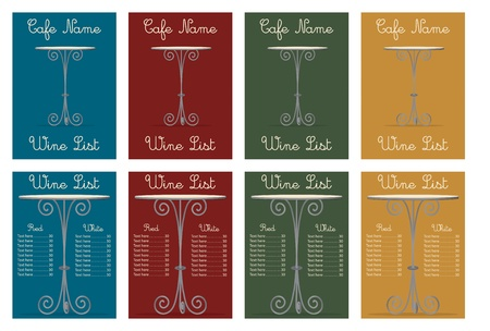Template design of a wine list in vector format