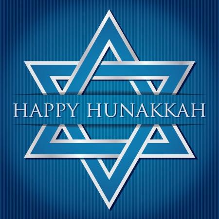 Happy Hanukkah  blue star of David card in vector format  Illustration