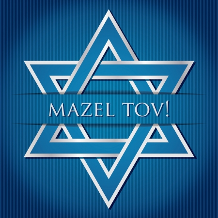hasidic:  Mazel Tov   blue star of David card in vector format