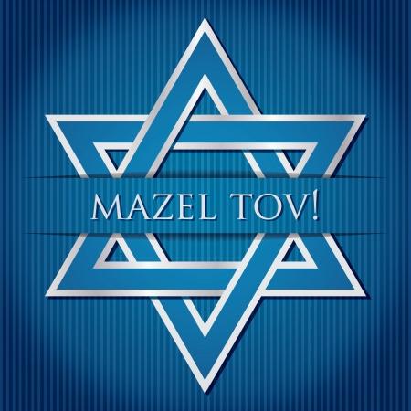 estrella de david: Mazel Tov estrella de David azul tarjeta en formato vectorial
