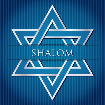 israel jerusalem:  Shalom  blue star of David card in vector format