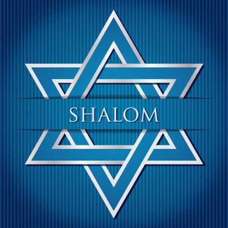 chanukah:  Shalom  blue star of David card in vector format