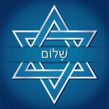 shalom:  Shalom  Hebrew blue star of David card in vector format