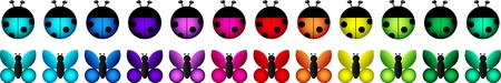 fuschia: A set of icons - ladybugs and butterflies in a variety of colours on a white background