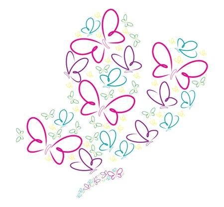 fuchsia: Hand drawn butterflies in a butterfly shape