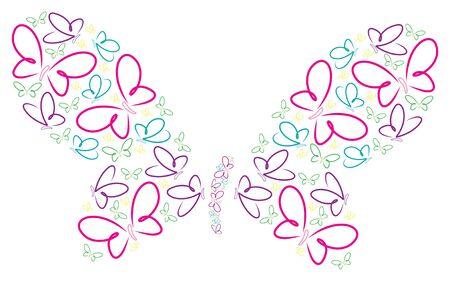 Hand drawn butterflies in a butterfly shape Vector