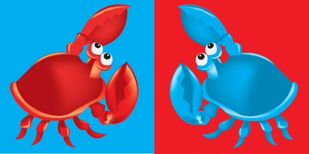crab legs: Red and blue crabs on red and blue backgrounds Illustration