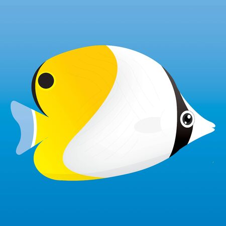 discus fish: A illustration of a yellow, black and white angel fish on blue background