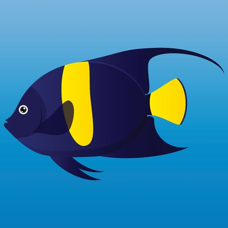 A illustration of a yellow and blue Arab angel fish on blue background  Stock Vector - 19511101