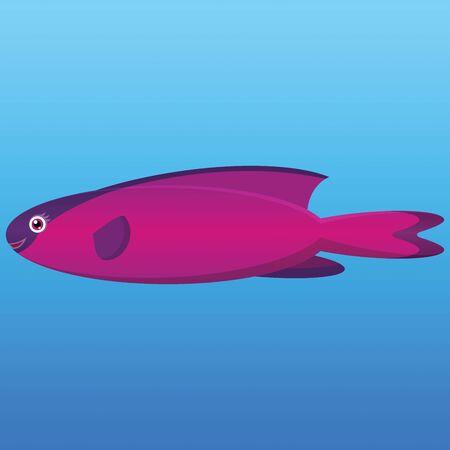 encapuchado: Una ilustraci�n de un pez napole�n con capucha de color rosa y morado sobre fondo azul