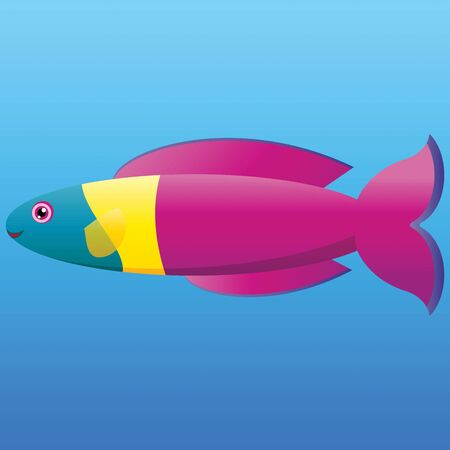 A illustration of a yellow, pink and aqua rainbow wrasse fish on blue background  Stock Vector - 19511084