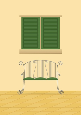 European style bench and window with shutters  Vector
