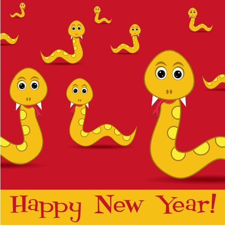 Bright 2013 Year of the snake card Vector