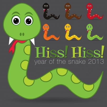 Hiss  Hiss  Happy new year cute cartoon snake set