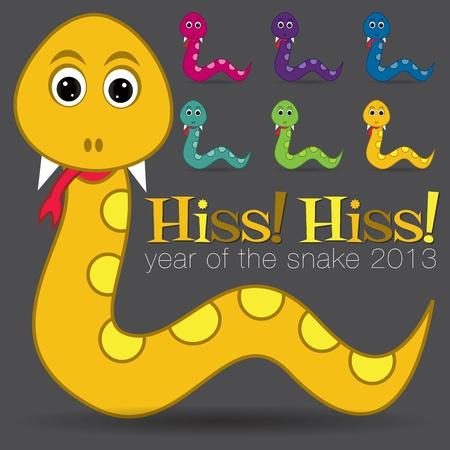 hiss: Hiss  Hiss  Happy new year cute cartoon snake set Illustration