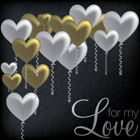 For My Love  balloon heart card Stock Vector - 19511489