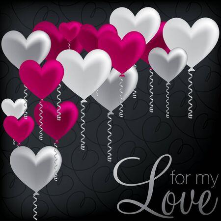 For My Love  balloon heart card Stock Vector - 19511405
