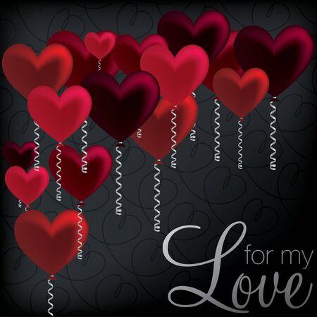 secret love: Para mi amor tarjetas coraz?n del globo Vectores