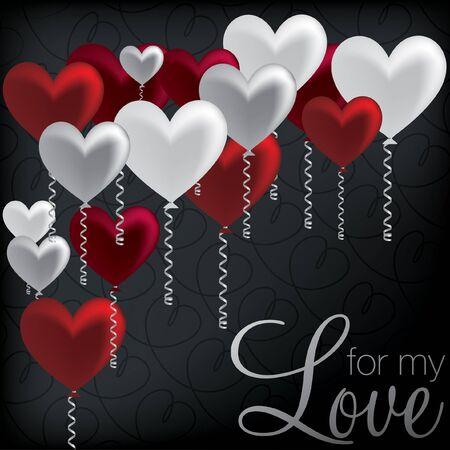 For My Love  balloon heart card Stock Vector - 19511440