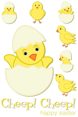 Cheep  Cheep  Happy Easter chick set  Vector