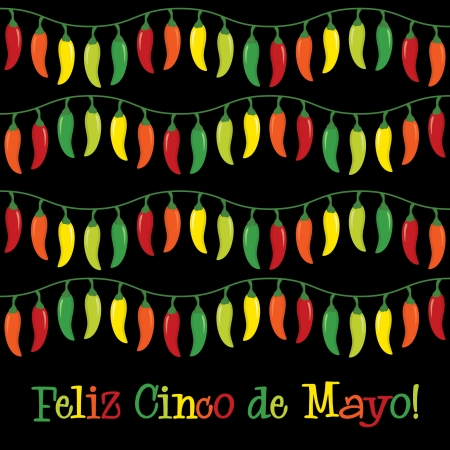 5th: Happy 5th of May  chilli card Illustration