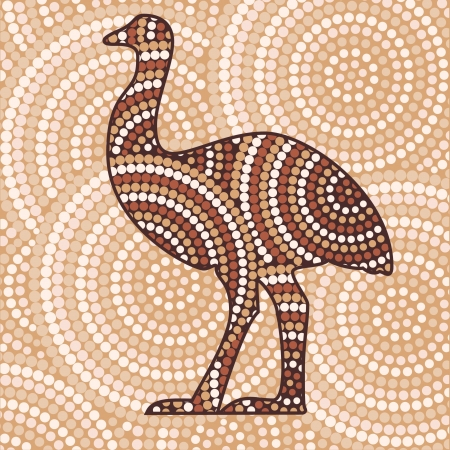 australian outback: Abstract Aboriginal Emu dot painting Illustration