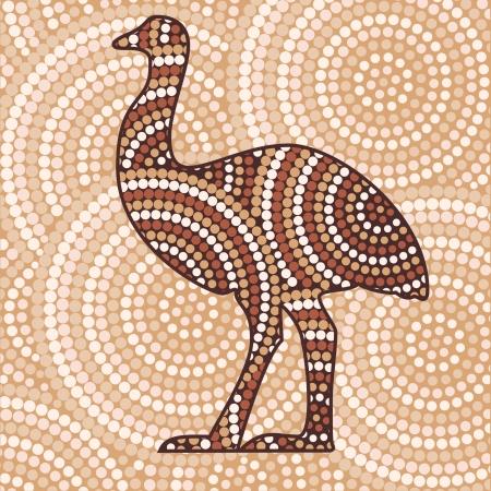 aborigine: Abstract Aboriginal Emu dot painting Illustration