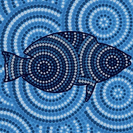 australian outback: La pintura abstracta de puntos pescado aborigen
