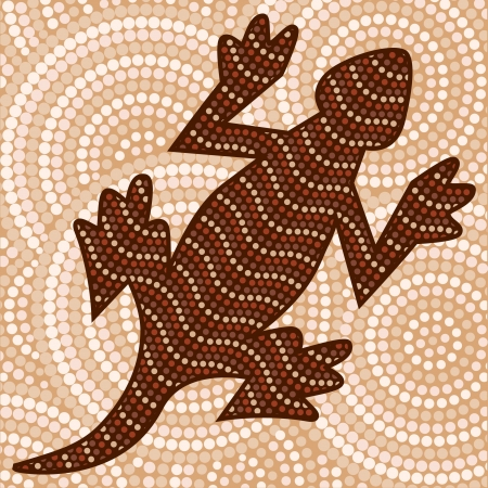 Abstract Aboriginal lizard dot painting Illustration