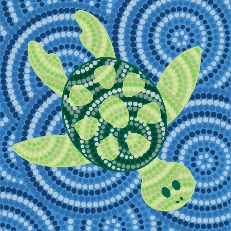 Abstract Aboriginal turtle dot painting