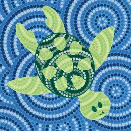 australian outback: La pintura abstracta de puntos tortuga aborigen