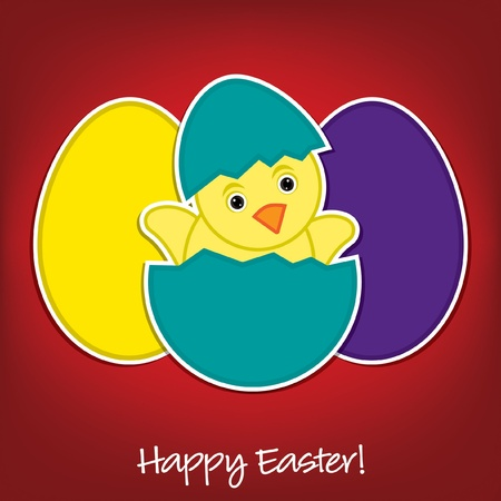 Baby Chick and eggs Easter card  Vector