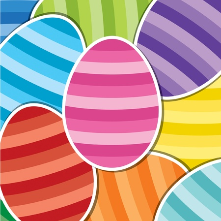 Bright Easter egg sticker background Vector