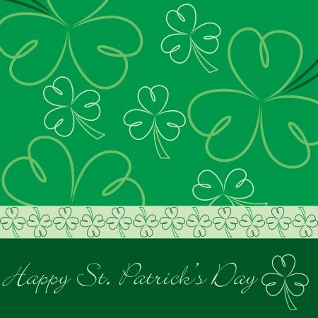 Happy St  Patrick s Day hand drawn shamrock card Vector