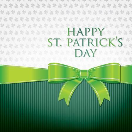 Happy St  Patrick s Day ribbon bow card  Vector