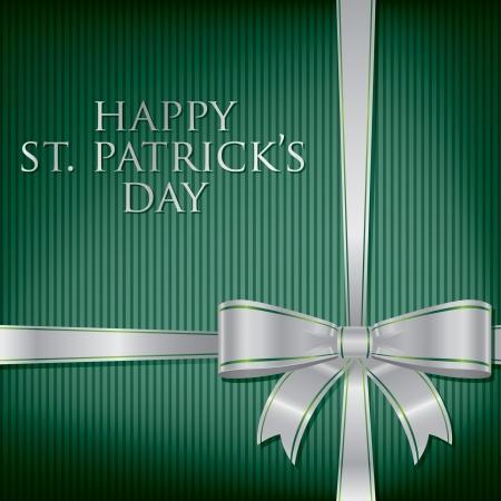 Happy St  Patrick s Day ribbon bow card  Stock Vector - 19511697