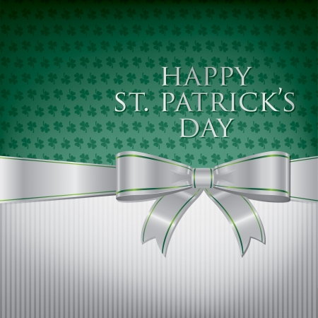 Happy St  Patrick s Day ribbon bow card  Vector