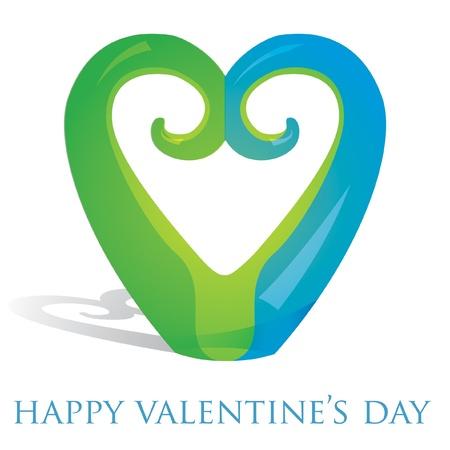 aotearoa: Koru heart ornament Valentine s Day card in vector format