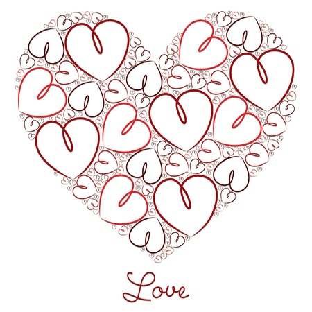 Red hand drawn heart of hearts card in vector format  Stock Vector - 19644446