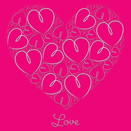 Fuchsia hand drawn heart of hearts card in vector format  Stock Vector - 19644444