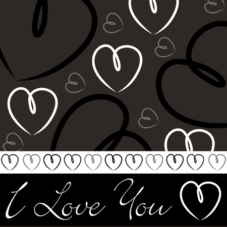 Black hand drawn heart card in vector format Stock Vector - 19644434