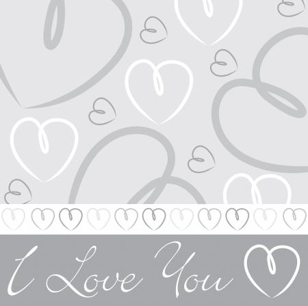 Mano dibujada tarjeta blanca de plata del corazón en formato vectorial