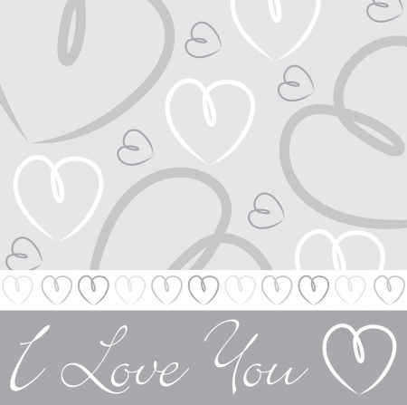 White Silver hand drawn heart card in vector format